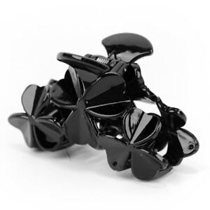 New-DIY-Ladies-Women-Flower-Black-Plastic-Hair-Clip-Clamp-Claw-Grip-80mm-X-42mm