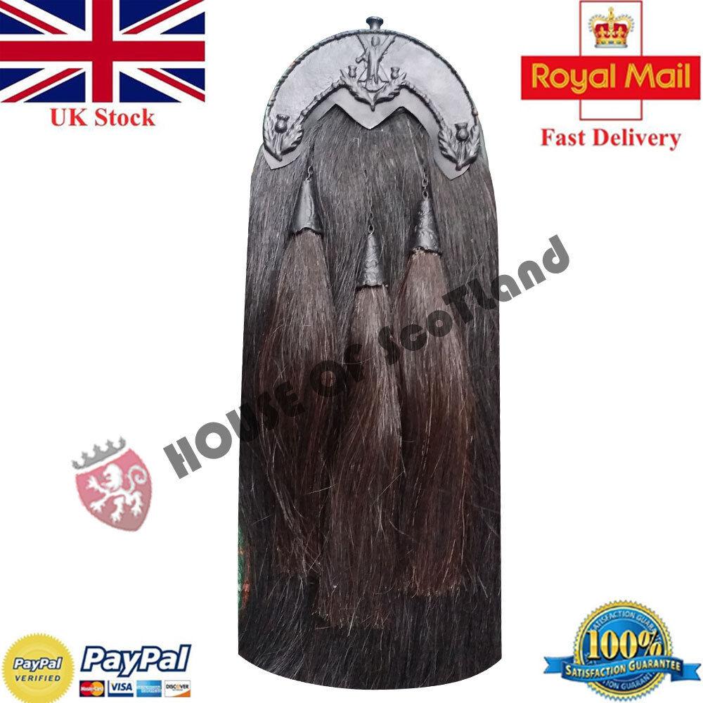 New Original Piper Black Horse Hair Kilt Sporran Black Tassels ST Andrew Cantle
