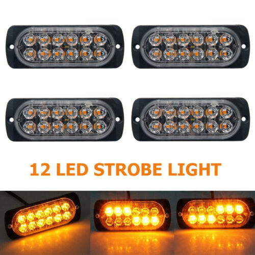 4pcs Amber 12 LED Car Truck Emergency Beacon Warning Hazard Flash Strobe Light
