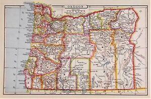 United States Map Oregon.Old Antique Map Oregon United States C1888 By