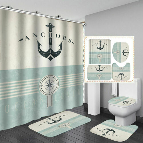 Nautical Anchor Door Bath Mat Toilet Cover Rug Shower Curtain Bathroom Decor