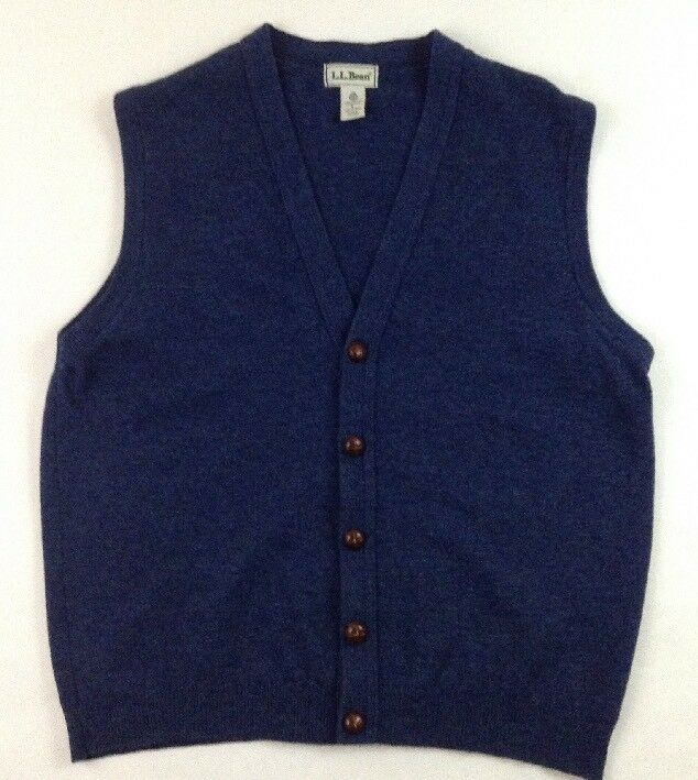 L.L. Bean Men's bluee Lambswool Cardigan Sweater Vest Size Large Made in Scotland