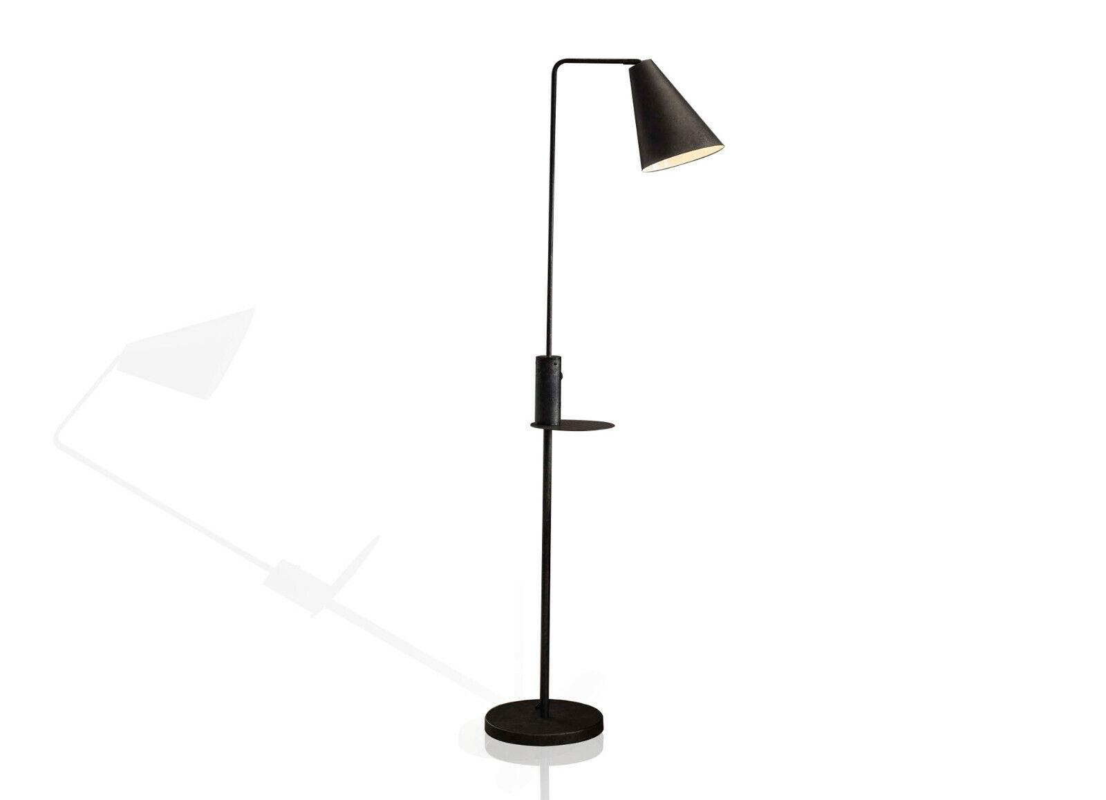 EMELIA Stehlampe Lampe Metallleuchte mit USB Ladestation schwarz E27-Fassung