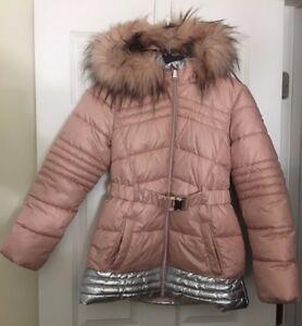 Youth Girl Michael Michael Kors Hooded Faux Fur Trim Down