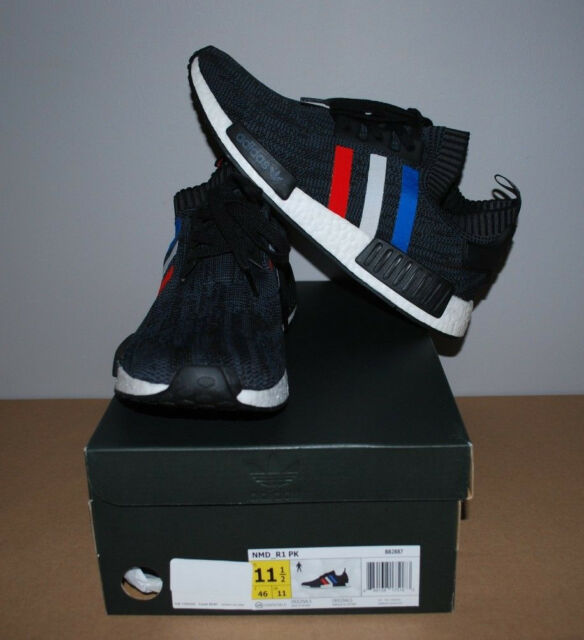 hot sales 2a7e9 8b8e9 adidas NMD R1 PK Tri Color Black BB2887 Sz 11.5 Boost Primeknit