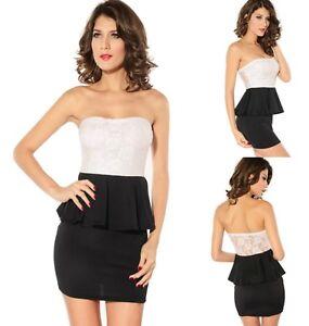 Sz-8-10-White-Black-Strapless-Peplum-Sexy-Formal-Cocktail-Party-Club-Mini-Dress