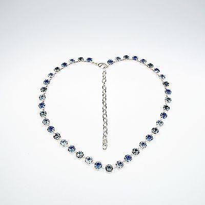 Damen Halskette Collier Tennis 925 Silber Versilbert Swarovski Kristalle Blau c