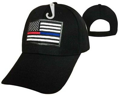 Thin Blue Red Line Tactical USA Flag Hat Baseball Cap Police Officer Firefighter