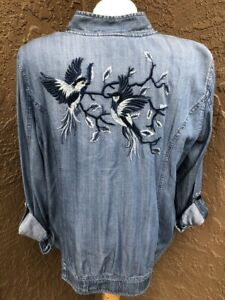 New-139-Chico-039-s-Blue-Denim-Embroidered-Bird-Light-Jacket-2-Large-L-12-14-NWT