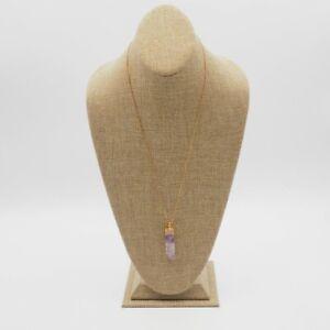 Vintage-Estate-Gold-Tone-Box-Chain-Amethyst-Quartz-Crystal-Pendant-Necklace