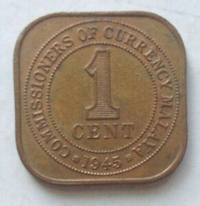 Commissioners of Currency Malaya 1 cent coin 1945 (B)