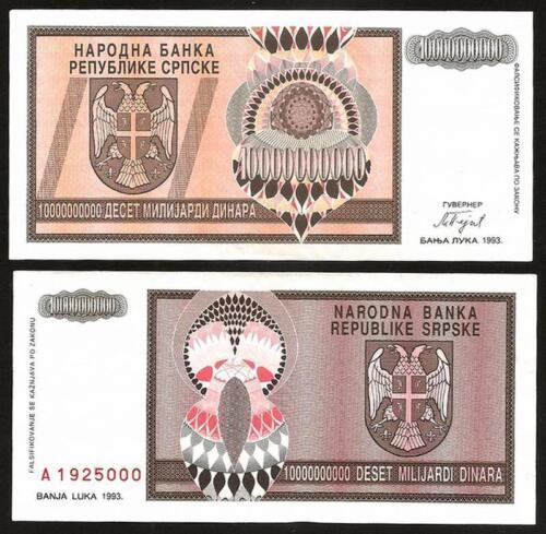 Pick 148 BOSNIA HERZEGOVINA 10 Milliard Dinara 1993 UNC