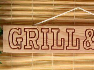 GRILL-amp-BBQ-Holzschild-fuer-Garten-Grillecke-Party-Gartenhaus-Douglasie-massiv