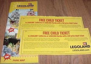Two (2) Legoland KID KIDS CHILD Go Free California or Florida Good 4/30/2019