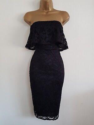 NEW Ex QUIZ 8-16 Bandeau Black Lace Bodycon Pencil Midi Dress Party Evening