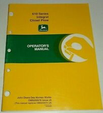 John Deere 610 Series Integral Chisel Plow Operators Owners Manual Original J9