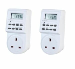 2X 7DAYS Plug-in Timer Programmable 3 Pin UK Main Wall Home Plug SockeT