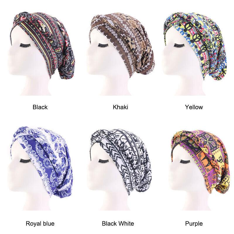Women Muslim Islamic Hair Loss Arab Hijab Cancer Chemo Printing Turban Hat Cap