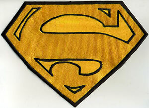 7-034-x-10-034-Large-Embroidered-Superman-Cape-Yellow-amp-Black-Embroidered-Patch