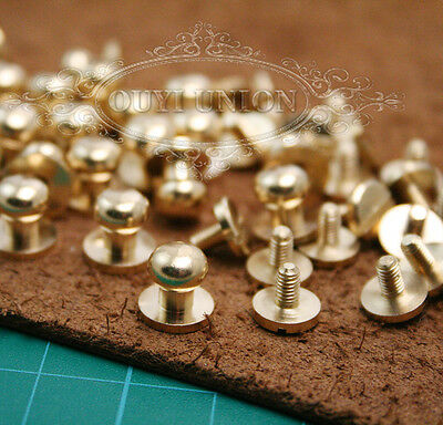 5-10 Pcs 7mm Round Nail Rivet Solid Brass Chicago Screws for Leather Craft Belt