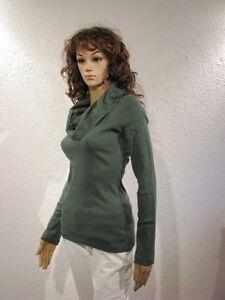 Pulli Pullover Shirt Wassefall Rollkragen Baumwolle Grün Gr. 36 38 NEUSALE *030*
