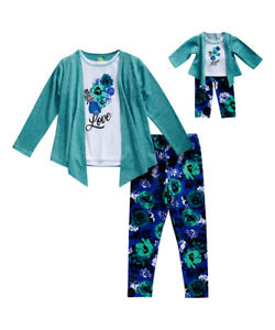 Girl 4-14 and Doll Matching Teal Mock Top Floral Legging Outfit ft American Girl