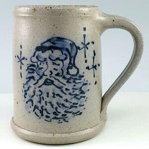 Rowe-Pottery-Christmas-Mug-Santa-Claus-Salt-Glaze-Coffee-Cup-Tankard-WI-1994