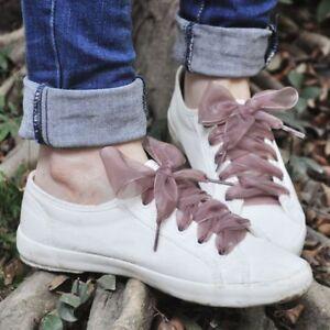 Mujer-Cordones-Zapatos-Cordones-Zapatillas-De-Deporte-Cinta-De-Raso-Seda-Plana