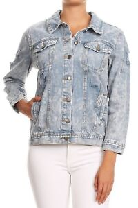 Women-039-s-Premium-Denim-Jackets-Long-Sleeve-Ripped-Printed-Jean-Coats