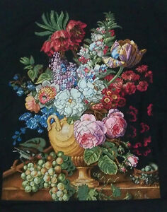 LARGE-LUXURY-New-Completed-finished-cross-stitch-needlepoint-034-FLOWER-GRAPES-VASE-034