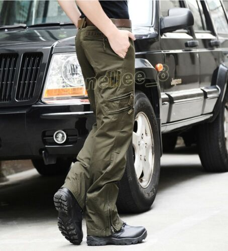 Mens Military Multi Pocket Casual Camo Loose Pants Dungarees Trousers Plus Size