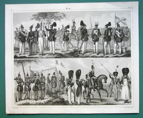 ARMY of Prussia France Infantry 1844 Antique Print Engraving