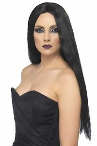 Women-039-s-Long-Black-61cm-Gothic-Witch-Fancy-Dress-Wig-Morticia-Addams-Hen-Fun-Do