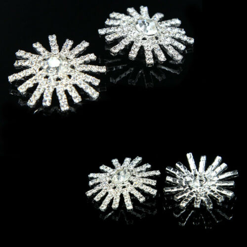 2 pieces Strass Bouton Ton Argent Strass Cristal Fleur Mariage Boutons 30 mm