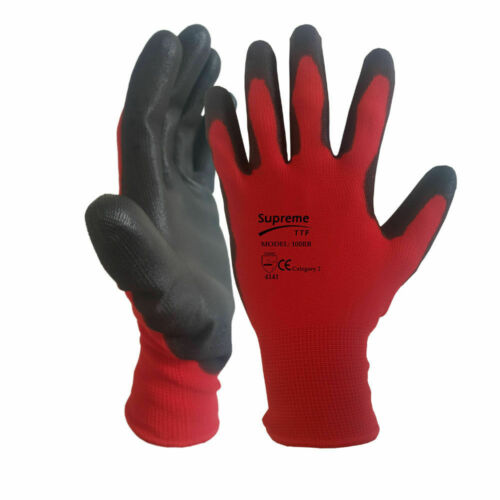24 Pairs Latex PU Coated Safety Work Gloves Gardening Mechanic Builders Grip