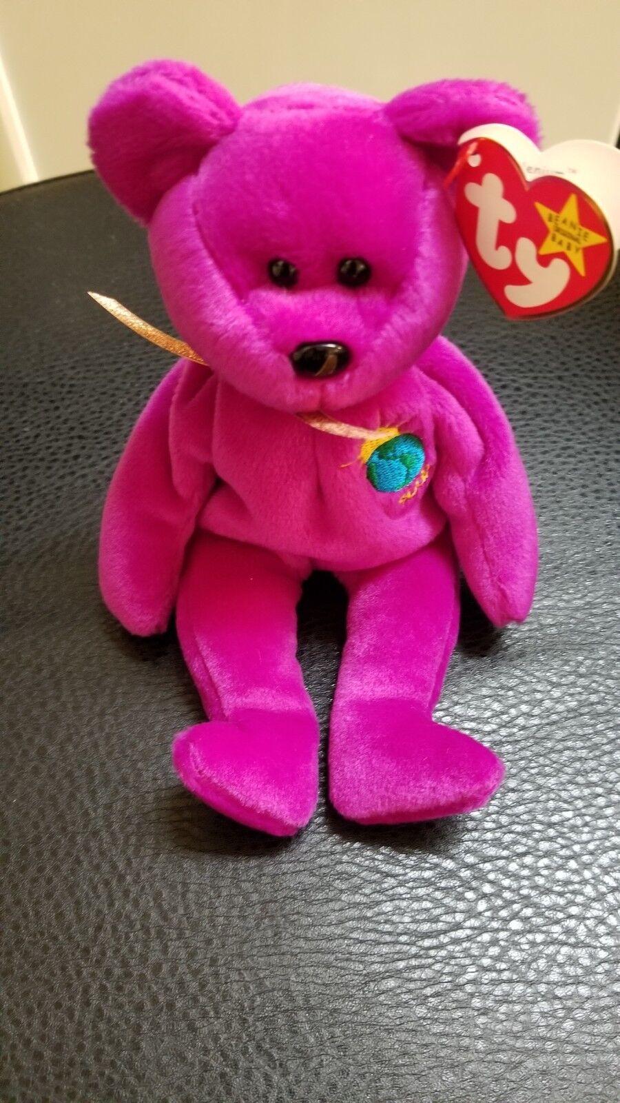 Authenticated Rare 1991 TY Beanie Baby - MILLENNIUM the Bear w errors