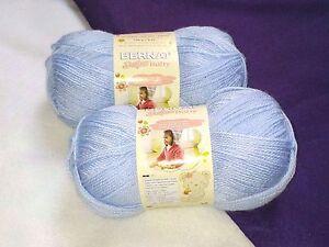 NEW Bernat SOFTEE Premium BABY Yarn Knit Crochet (2) 5 oz Skeins PALE BLUE