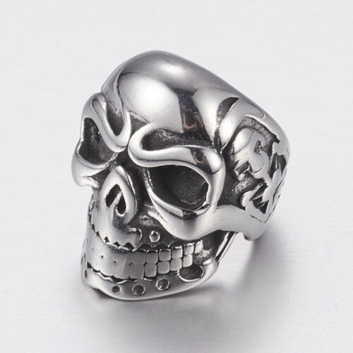 10Pcs Stainless Steel Skull Spacer Beads Metal Antique Silver Beads Charms New
