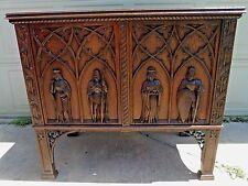Antique Outstanding Figural Carved Gothic Server Cabinet Sideboard Buffet