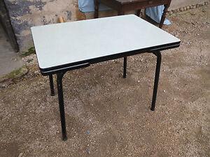 Ancienne Table En Formica Rallonge Tiroir Vintage Design 1960 Verte