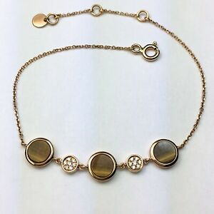 18K-Rose-Gold-Tiger-039-s-Eye-Natural-Diamond-Chain-Bracelet-6-7-Inch-Adjustable