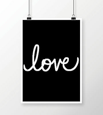 Typography 'Love' Quote Print A4 Modern Wall Art Home Decor Black and White