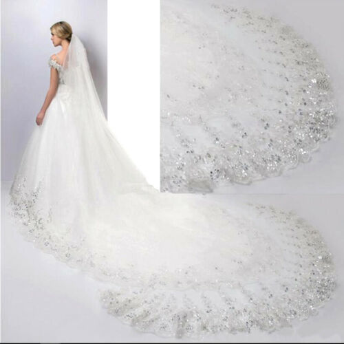 Beautifui 4m Luxury 1T Cathedral Wedding Lace Sequins Long Veil With Comb