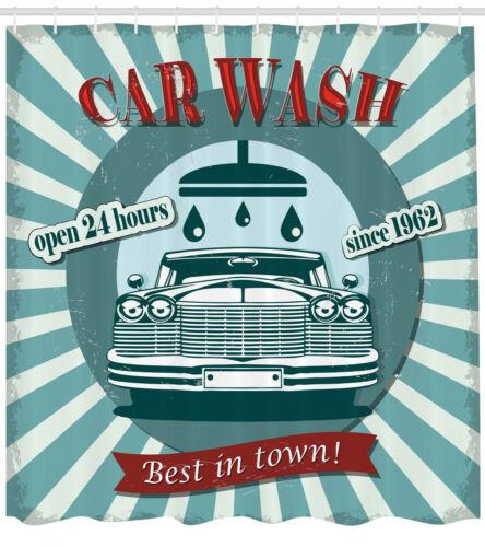 Vintage Graphic Design of Car Wash Sign Retro Themed Print Shower Curtain Set
