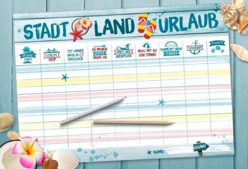 Stadt Land Musik Urlaub Fussball Tier Ahoi Büro Wortquiz Spielblock Quiz Spiel