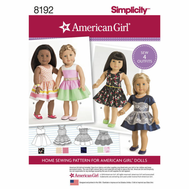 Simplicity 8192 Uncut Sewing Patterns American Girl Doll Clothes 4 ...