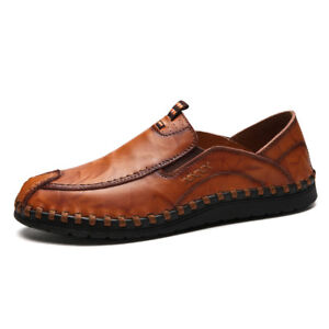 chic mens casual leather boat shoes moccasins slip on