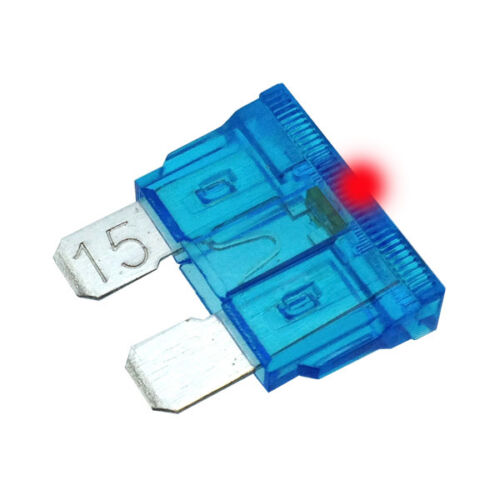 15A LED STANDARD BLADE Fuse Car Auto 15 Amp Glows when it Bows ATO Pack of 10