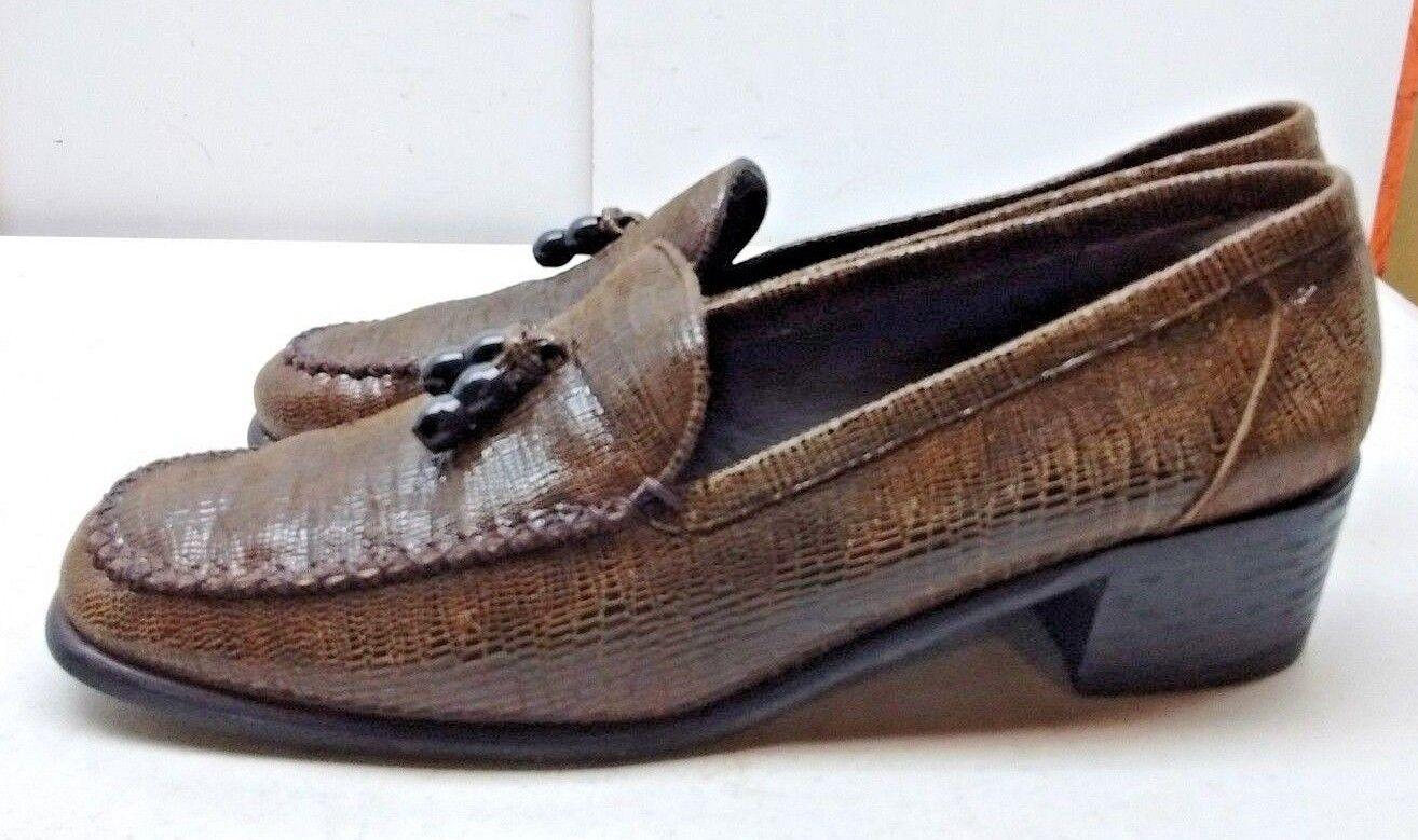 Stuart Weitzman Para mujeres Cuero Estampado Serpiente Marrón Marrón Marrón Mocasines Zapatos Tacón Borla 9.5B  en stock