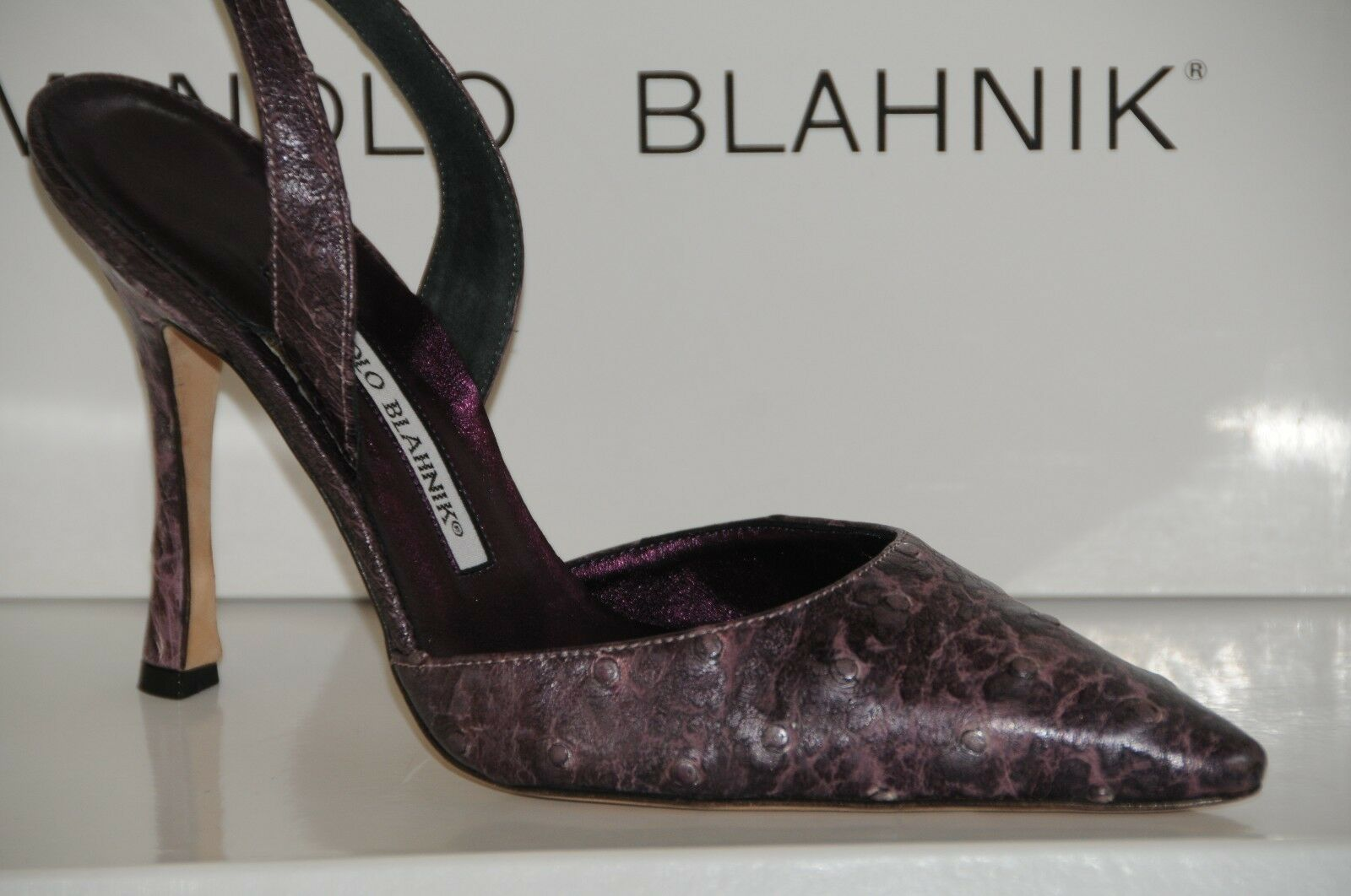 1200 NEW MANOLO BLAHNIK Carolyne Amebo Purple OSTRICH SKINS Slingback SHOES 37
